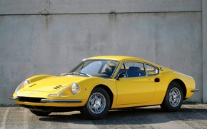 Picture car, yellow, old, Ferrari Dino 206 Gt