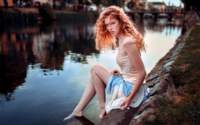 Picture girl, river, long hair, dress, legs, photo, photographer, water, blue eyes, barefoot, model, lips, face, …