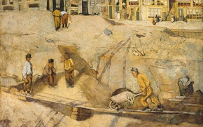 Wallpaper oil, picture, Sand Quarry in Amsterdam, Richard Roland Holst