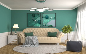 Picture sofa, green, interior, picture, chandelier, living room, decoration, design 3D
