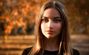 Picture autumn, look, girl, the sun, background, portrait, makeup, hairstyle, beautiful, redhead, bokeh