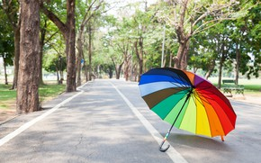 Picture road, summer, trees, Park, rainbow, umbrella, colorful, rainbow, summer, alley, umbrella, park