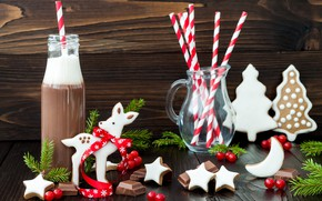 Picture holiday, chocolate, cookies, New year, Christmas, chocolate, decor, glaze, cocoa, drink, sweets, cookies