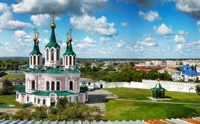 Picture clouds, the sky, the monastery, Russia, yard, Dalmatovo, panorama, Dalmatovsky assumption monastery, Church