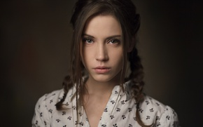 Picture look, girl, face, sweetheart, model, portrait, hairstyle, braids, light, shirt, brown hair, beautiful, the beauty, …