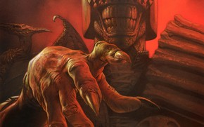 Wallpaper hand, claws, helmet, comic, Greg Staples, Judge Death, Judge Death