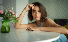 Picture look, flowers, pose, portrait, makeup, hairstyle, vase, brown hair, beauty, sitting, bokeh, at the table, …