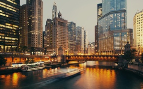 Picture Home, The evening, Pier, The city, River, Chicago, Skyscrapers, Boat, USA, Bridges, Boats