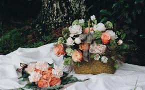 Wallpaper basket, roses, peonies, bouquets, flowers
