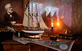 Picture ship, books, candle, sailboat, picture, Jules Verne
