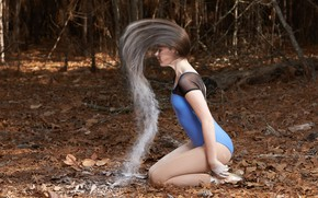 Picture forest, girl, hair, flour