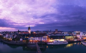 Picture the sky, clouds, lights, river, home, ships, the evening, Germany, panorama, piers, court, Friedrichshafen
