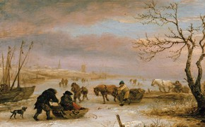 Picture picture, Isaac van Ostade, Isaac van Ostade, Winter Landscape with a Boat Frozen in the …