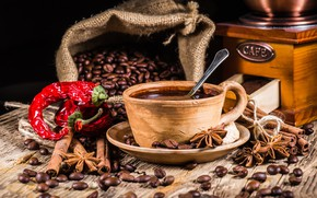 Picture coffee, grain, Cup, pepper, hot, cinnamon, cup, beans, coffee, spices