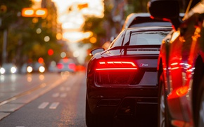 Wallpaper sports car, Audi, auto, bokeh, lights, the city, stopsignal, car, Audi R8