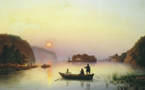 Picture landscape, river, boat, oil, picture, canvas, Crossing N.In.Gogol across the Dnieper, Anton Ivanov