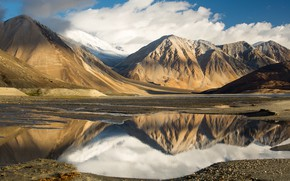 Wallpaper clouds, the sky, tibet, mountains, lake, Tibet, reflection, lake, clouds, the sky, mountains, reflection