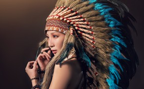 Picture girl, face, style, hair, feathers, headdress