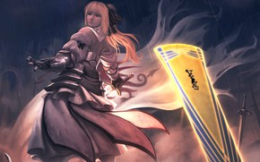Picture girl, night, anime, warrior, art, the saber, Fate / Grand Order