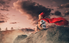 Picture clouds, stones, sword, boy, crown, Prince, child