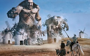 Wallpaper Don Quixote, mill, the giants, Sancho Panza, the battle