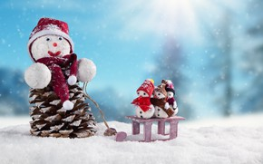 Picture snowman, Xmas, New Year, decoration, snow, snow, winter, Merry Christmas, happy, snowflakes, snowman, Christmas, Christmas, …