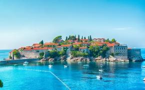 Picture Home, The city, Bay, Boats, Coast, Montenegro, Budva, Sveti Stefan, Sveti Stefan, Budva