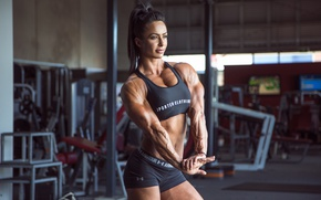 Picture muscular toning, muscle mass, Female bodybuilder, model, pose