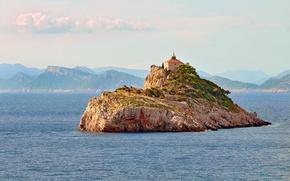 Picture sea, seascape, island, lighthouse, Croatia, Dubrovnik, Adriatic Sea, Korcula