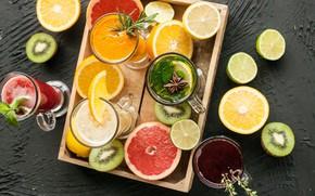 Picture drinks, citrus, mint, carnation
