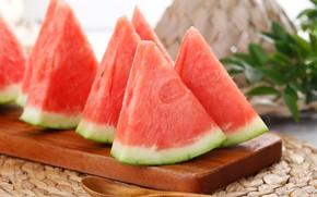 Picture watermelon, slices, juicy, ripe