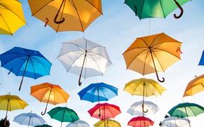 Picture the sky, the sun, umbrellas, colorful, a lot, Colorful Umbrellas