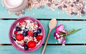 Picture flowers, berries, food, bouquet, Breakfast, strawberry, plate, muesli, yogurt, Yuliya Gontar