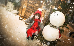 Picture girl, snow, holiday, Christmas, New year, snowman, Asian