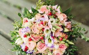 Picture flowers, rose, bouquet, eustoma
