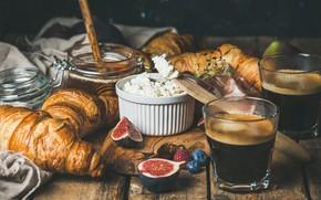 Picture coffee, food, Breakfast, honey, croissants, figs, Natasha Breen