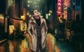 Wallpaper kanni, loneliness, kanni.pro, bykanni, light, man, Tokyo, night, night, male, lights, rain, lights, the city, ...