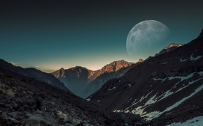 Picture the sky, snow, mountains, stones, the moon, people, moon, sky, mountains, snow, man, stones