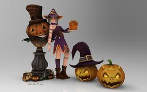 Wallpaper girl, anime, pumpkin, Halloween, 3D graphics