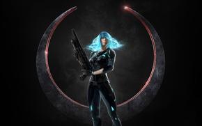Picture gun, weapon, shotgun, suit, uniform, Nyx, Quake: Champions