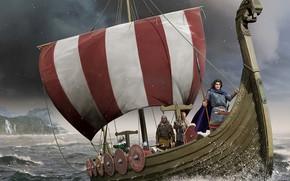 Picture Sea, Ship, Spear, The Vikings, Drakkar, sailors, Nordic battle axe, Skandinavskie
