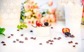 Wallpaper berries, BlackBerry, chocolate, dessert, cake, roses, strawberry