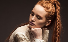 Picture actress, tail, braids, red, braids, Madelaine Petsch