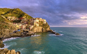 Wallpaper The Ligurian sea, Italy, Cinque Terre, rocks, landscape, Cinque Terre, Manarola, Ligurian Sea, sea, Manarola, ...
