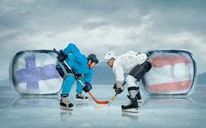 Picture sport, ice, gloves, hockey, uniform, men, skates, hats, hockey players, stick