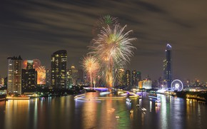 Picture night, the city, holiday, panorama, fireworks, Bangkok