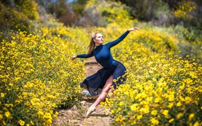 Wallpaper nature, girl, dance
