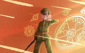 Picture girl, soldier, military, war, anime, chibi, eagle, cap, blonde, asian, manga, oriental, asiatic, powerful, strong, …