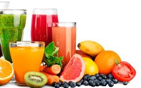 Picture lemon, oranges, kiwi, blueberries, berry, white background, glasses, fruit, banana, vegetables, tomato, carrots, juices
