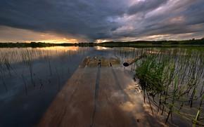 Picture clouds, lake, pier, Karelia, Kolodozero